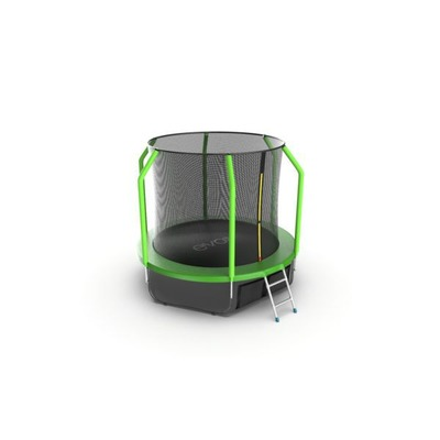 Батут EVO JUMP Cosmo 8ft (Green) + Lower net с внутренней сеткой и лестницей (фото, вид 2)