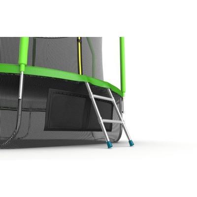 Батут EVO JUMP Cosmo 10ft (Green) + Lower net с внутренней и нижней сеткой и лестницей (фото, вид 1)