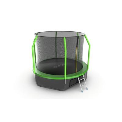 Батут EVO JUMP Cosmo 10ft (Green) + Lower net с внутренней и нижней сеткой и лестницей (фото, вид 2)