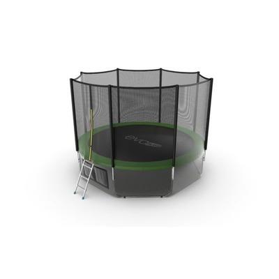 Батут EVO JUMP External 12ft (Green) + Lower net с внешней и нижней сеткой и лестницей (фото, вид 1)