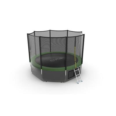 Батут EVO JUMP External 12ft (Green) + Lower net с внешней и нижней сеткой и лестницей (фото, вид 3)