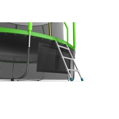 Батут EVO JUMP Cosmo 12ft (Green) + Lower net с внутренней и нижней сеткой и лестницей (фото, вид 1)
