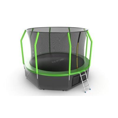 Батут EVO JUMP Cosmo 12ft (Green) + Lower net с внутренней и нижней сеткой и лестницей (фото, вид 2)