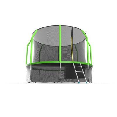 Батут EVO JUMP Cosmo 12ft (Green) + Lower net с внутренней и нижней сеткой и лестницей (фото, вид 4)