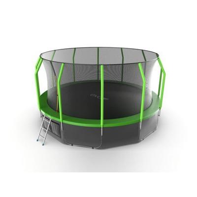 Батут EVO JUMP Cosmo 16ft (Green) + Lower net с внутренней и нижней сеткой и лестницей (фото, вид 1)