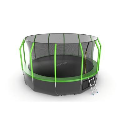 Батут EVO JUMP Cosmo 16ft (Green) + Lower net с внутренней и нижней сеткой и лестницей (фото, вид 3)