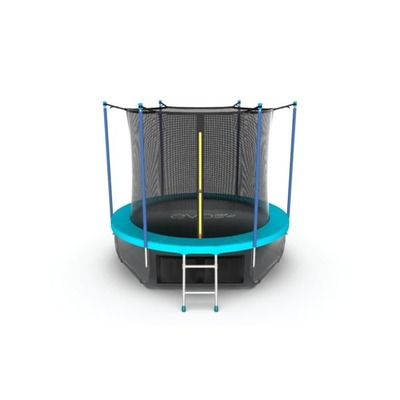 EVO JUMP Internal 6ft (Wave). Батут с внутренней сеткой и лестницей, диаметр 6ft (морская волна) + нижняя сеть (фото, вид 1)