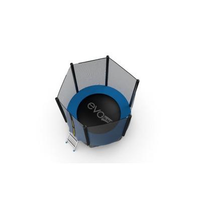 Батут EVO JUMP External 6ft (Blue) с внешней сеткой и лестницей, диаметр 6ft (синий) (фото, вид 3)