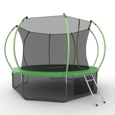 Батут EVO JUMP Internal 12ft (Green) + Lower net с внутренней и нижней сеткой и лестницей (фото, вид 1)