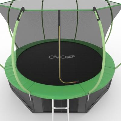 Батут EVO JUMP Internal 12ft (Green) + Lower net с внутренней и нижней сеткой и лестницей (фото, вид 4)
