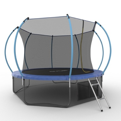 Батут EVO JUMP Internal 12ft (Blue) + Lower net с внутренней и нижней сеткой и лестницей (фото, вид 1)