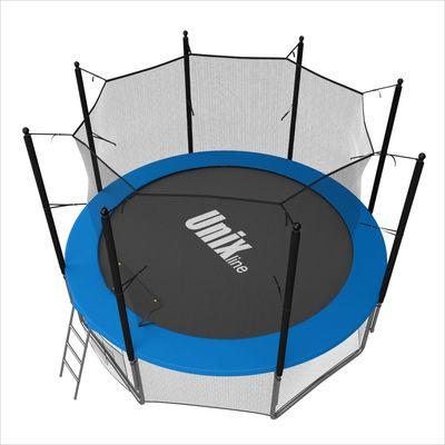 Батут с сеткой и лестницей Unix 6 ft (183м). Внутренняя сетка. BLUE. (фото, вид 1)