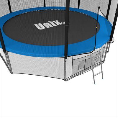 Батут с сеткой и лестницей Unix 14 ft (427 м). Внешняя сетка. BLUE. (фото, вид 1)