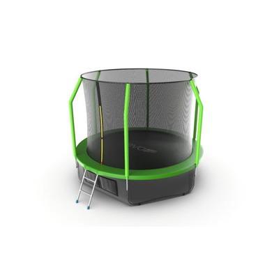 Батут EVO JUMP Cosmo 10ft (Green) + Lower net с внутренней и нижней сеткой и лестницей (фото)