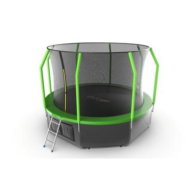 Батут EVO JUMP Cosmo 12ft (Green) + Lower net с внутренней и нижней сеткой и лестницей (фото)