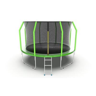 Батут EVO JUMP Cosmo 12ft (Green) с внутренней сеткой и лестницей (фото)