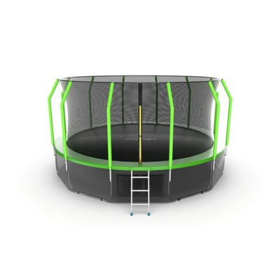 Батут EVO JUMP Cosmo 16ft (Green) + Lower net с внутренней и нижней сеткой и лестницей (фото)