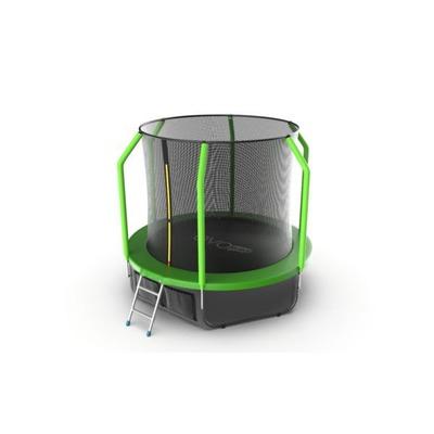 Батут EVO JUMP Cosmo 8ft (Green) + Lower net с внутренней сеткой и лестницей (фото)