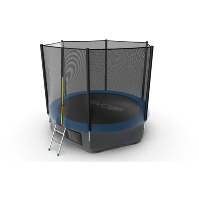 Батут EVO JUMP External 10ft (Blue) + Lower net. с внешней сеткой и лестницей (фото)