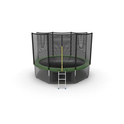 Батут EVO JUMP External 12ft (Green) + Lower net с внешней и нижней сеткой и лестницей (фото)