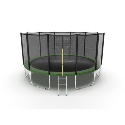 Батут EVO JUMP External 16ft (Green) с внешней сеткой и лестницей (фото)