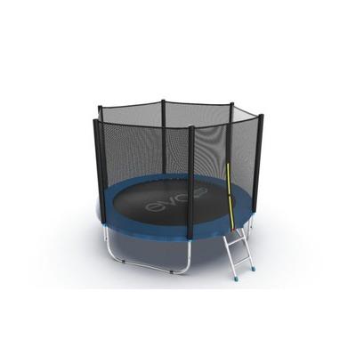 Батут EVO JUMP External 8ft (Blue) с внешней сеткой и лестницей (фото)