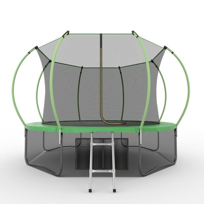 Батут EVO JUMP Internal 12ft (Green) + Lower net с внутренней и нижней сеткой и лестницей (фото)