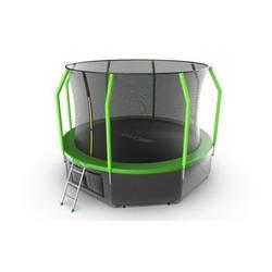 Батут EVO JUMP Cosmo 12ft (Green) + Lower net с внутренней и нижней сеткой и лестницей