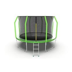 Батут EVO JUMP Cosmo 12ft (Green) с внутренней сеткой и лестницей