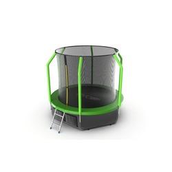 Батут EVO JUMP Cosmo 8ft (Green) + Lower net с внутренней сеткой и лестницей