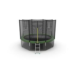 EVO JUMP External 12ft (Green) + Lower net. Батут с внешней сеткой и лестницей, диаметр 12ft (зеленый) + нижняя сеть