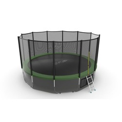 EVO JUMP External 16ft (Green) + Lower net. Батут с внешней сеткой и лестницей, диаметр 16ft (зеленый) + нижняя сеть