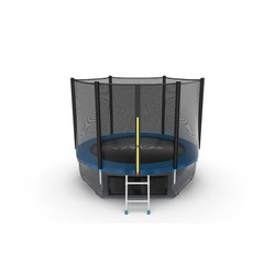 EVO JUMP External 8ft (Blue) + Lower net. Батут с внешней сеткой и лестницей, диаметр 8ft (синий) + нижняя сеть