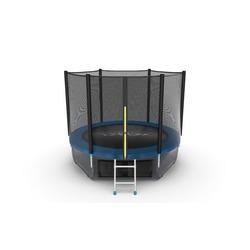 Батут EVO JUMP External 8ft (Blue) + Lower net с внешней и нижней сеткой и лестницей