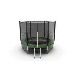 Батут EVO JUMP External 8ft (Green) + Lower net с внешней и нижней сеткой и лестницей