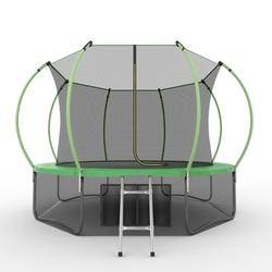 EVO JUMP Internal 12ft (Green) + Lower net. Батут с внутренней сеткой и лестницей, диаметр 12ft (зеленый) + нижняя сеть