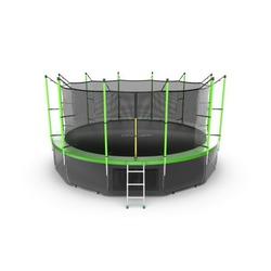 EVO JUMP Internal 16ft (Green) + Lower net. Батут с внутренней сеткой и лестницей, диаметр 16ft (зеленый) + нижняя сеть