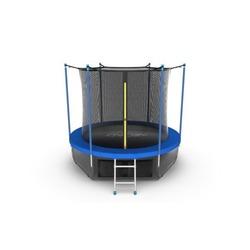 Батут EVO JUMP Internal 8ft (Sky). с внутренней сеткой и лестницей, диаметр 8ft (синий) + нижняя сеть