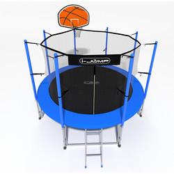 Батут с сеткой и лестницей i-JUMP Basket 14ft (4,27м) blue