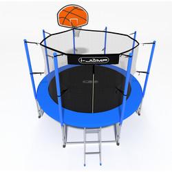 Батут с сеткой и лестницей i-JUMP Basket 16ft (4,88м) blue