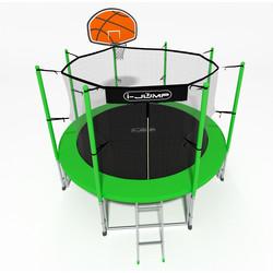Батут с сеткой и лестницей i-JUMP Basket 14ft (4,27м) green