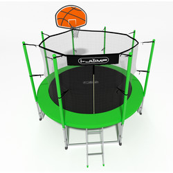 Батут с сеткой и лестницей i-JUMP Basket 16ft (4,88м) green