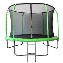 Батут 10FT 3,05м SportElite фиберглас, с защитной сеткой внутрь и лестницей, салатовый, GB30201-10FT