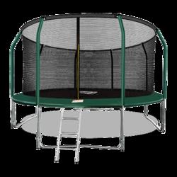 Батут ARLAND премиум 14FT с внутренней страховочной сеткой и лестницей (Dark green)