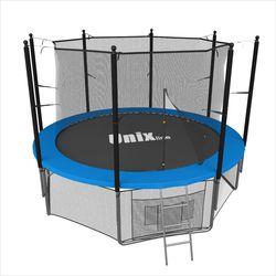 Батут с сеткой и лестницей Unix 8 ft (244м). Внутренняя сетка. BLUE.