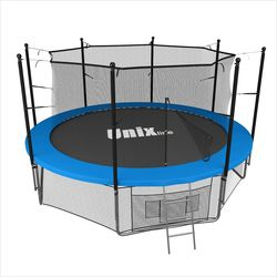 Батут с сеткой и лестницей Unix 12 ft (366м). Внутренняя сетка. BLUE.