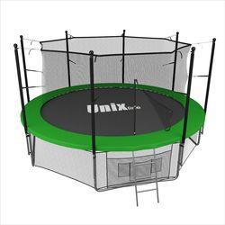 Батут с сеткой и лестницей Unix 12 ft (366м). Внутренняя сетка. GREEN.