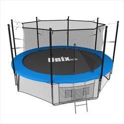Батут с сеткой и лестницей Unix 14 ft (427 м). Внутренняя сетка. BLUE.