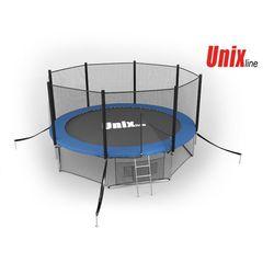 Батут с сеткой и лестницей Unix 12 ft (366м). Внешняя сетка. BLUE.