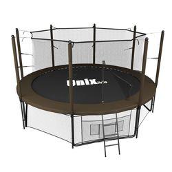 Батут с сеткой и лестницей Unix 12 ft (366м). Внутренняя сетка. Black&Brown